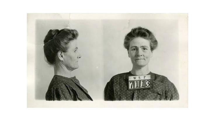 Linda Hazzard's Washington State Penitentiary mug shots (from the Washington State Archives)