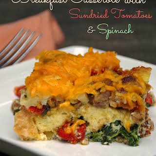 Breakfast Casserole with Sundried Tomatoes and Spinach.