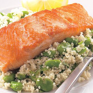 Salmon With Broad Bean Couscous.