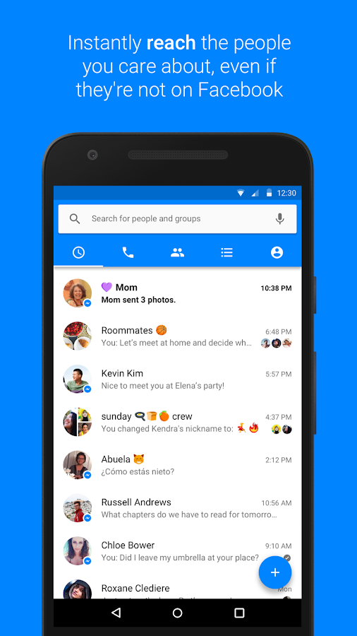 Screenshots of Facebook Messenger for iPhone
