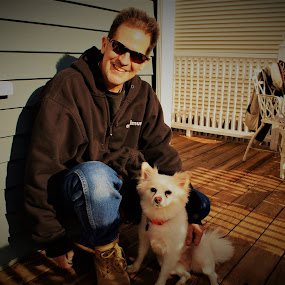Me and My bestie,,, Lucy Lou!!!  One of the best dogs a guy could ask for. I am very grateful for her and the unconditional love she shows to me... She is such a good dog... <3 <3 <3 by Andrew Medvegy - Animals - Dogs Portraits (  )