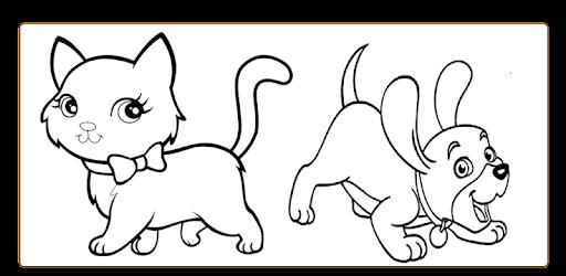 mewarnai kucing dan anjing
