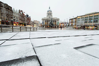Photo: A general view of the Old Market Square in Nottingham, as the first wave of snow will hit most of the country and some eastern parts of Wales but a second heavier band will fall over central and eastern England later in the day. PRESS ASSOCIATION Photo. Picture date: Monday January 14, 2013. See PA story WEATHER Snow. Photo credit should read: Neil Squires/PA Wire