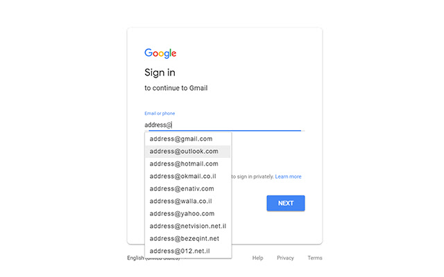 Email Address Autocomplete
