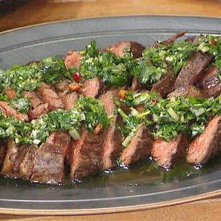 Hanger Steak with Chimichurri Sauce.
