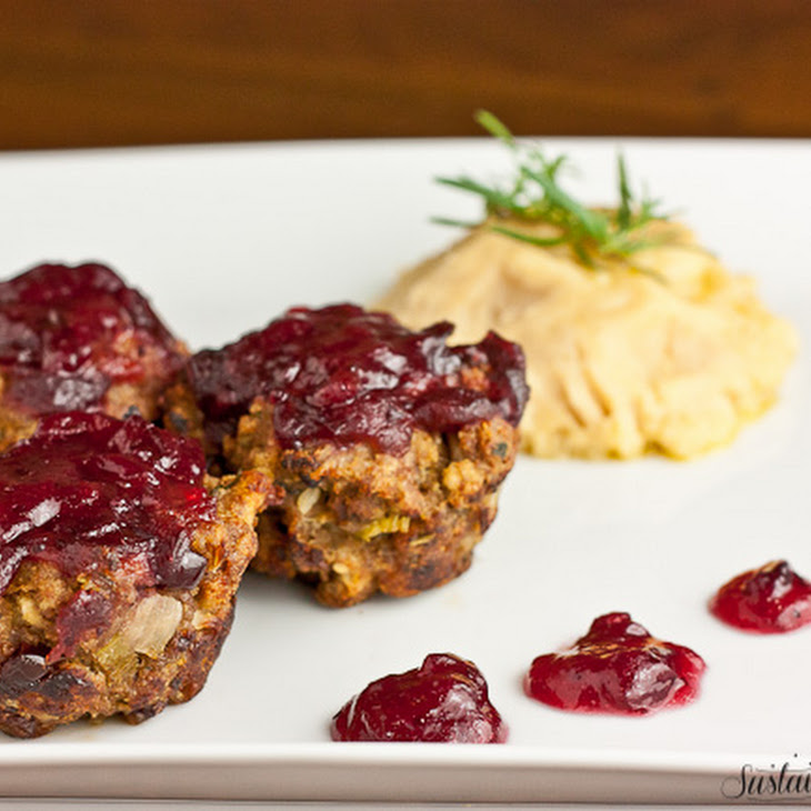 Turkey and Stuffing Meatloaf Muffins with Cranberry Glaze