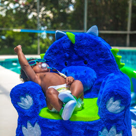 Chubby Monster by Malik Marcell - Babies & Children Babies ( shades, monster, pool, blue, florida, infant, chubby, baby, relaxing, orange juice, gerber, kairo )