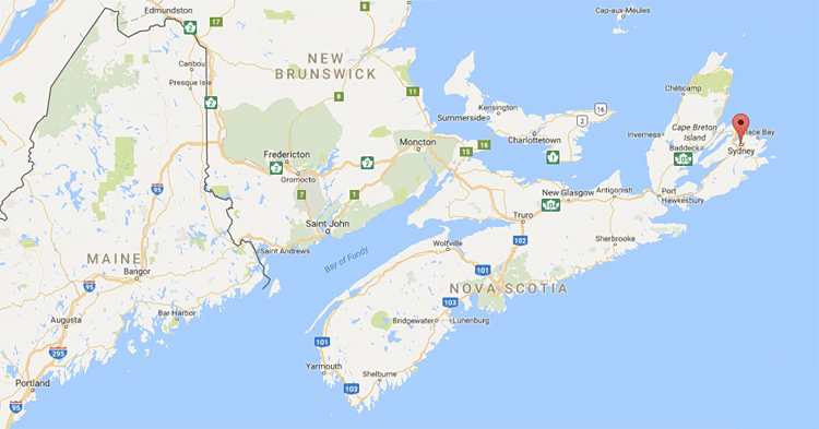 Sydney is a small village in the northeast corner of Nova Scotia (click for full map).