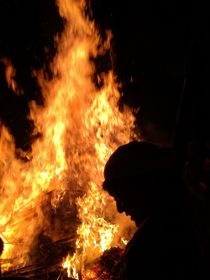 Bonfire keep at fire festival in Nozawa Onsen.
