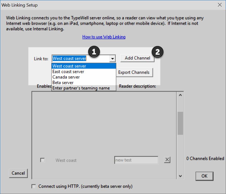 screenshot of Web Linking setup window