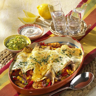 Chicken Enchiladas with Guacamole and Sour Cream.