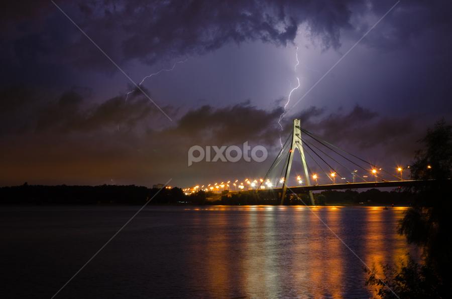 A Thunderstorm #2 by Andrey Dayen - Landscapes Weather ( lightning, ukraine, thunderstorm, pwcfoulweather, kiev, shutter, night, bridge, storm, river,  )