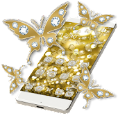 Butterflies Theme Gold Glitter Launcher