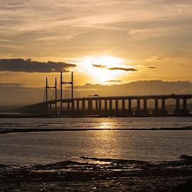 Sunset Over Severn by Ingrid Anderson-Riley - Buildings & Architecture Bridges & Suspended Structures