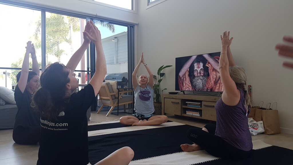 Morning yoga during our first BeanCon