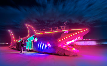 Photo: Disco Shark Most of the things you see at Burning Man are intended to make you smile. I've still got this silly grin on my face a week later. Reality is trying to creep in and take it away, but I'm blocking its' attacks with flying kung fu kicks.