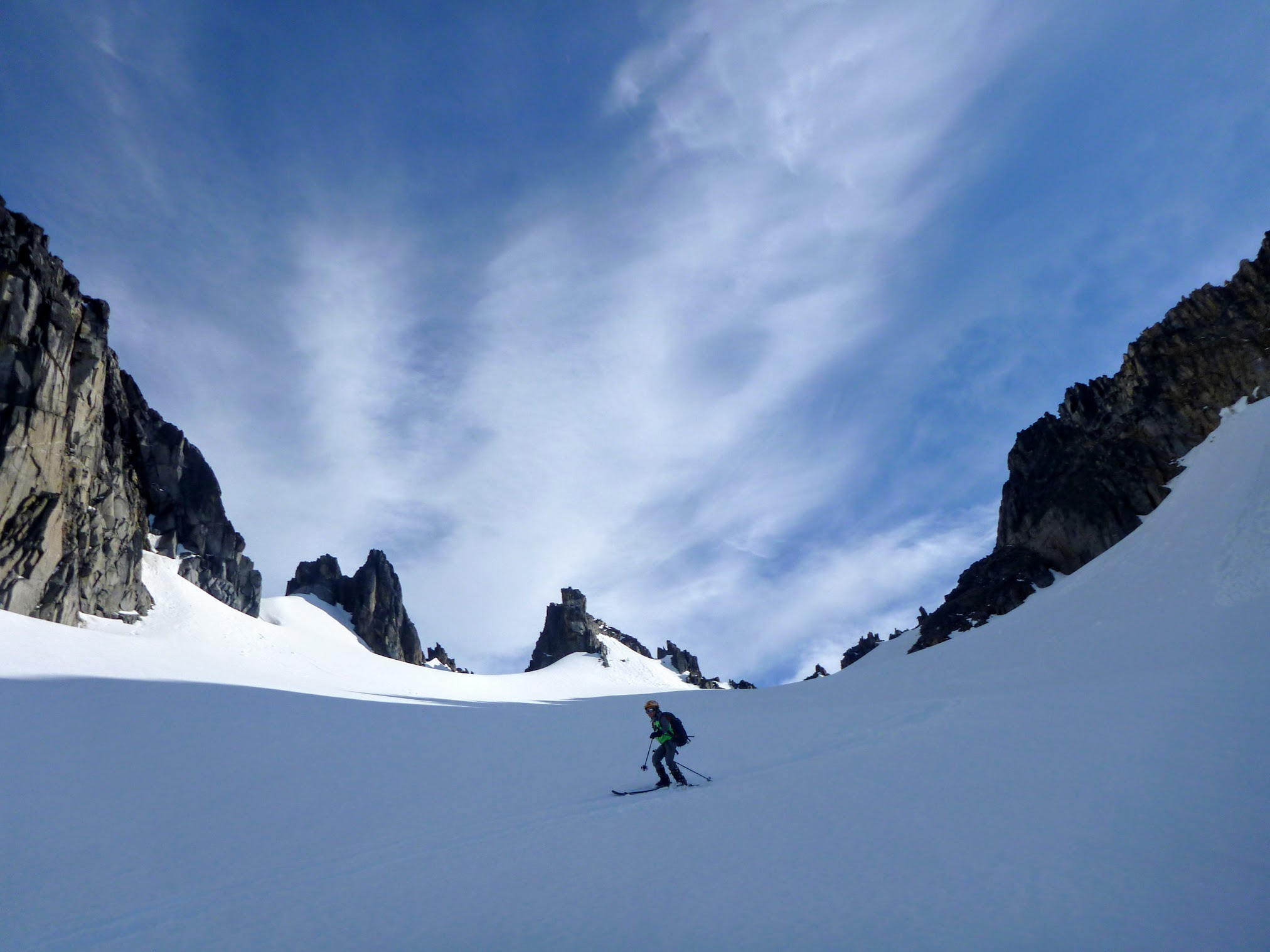 Skiing Down Castle Towers Glacier