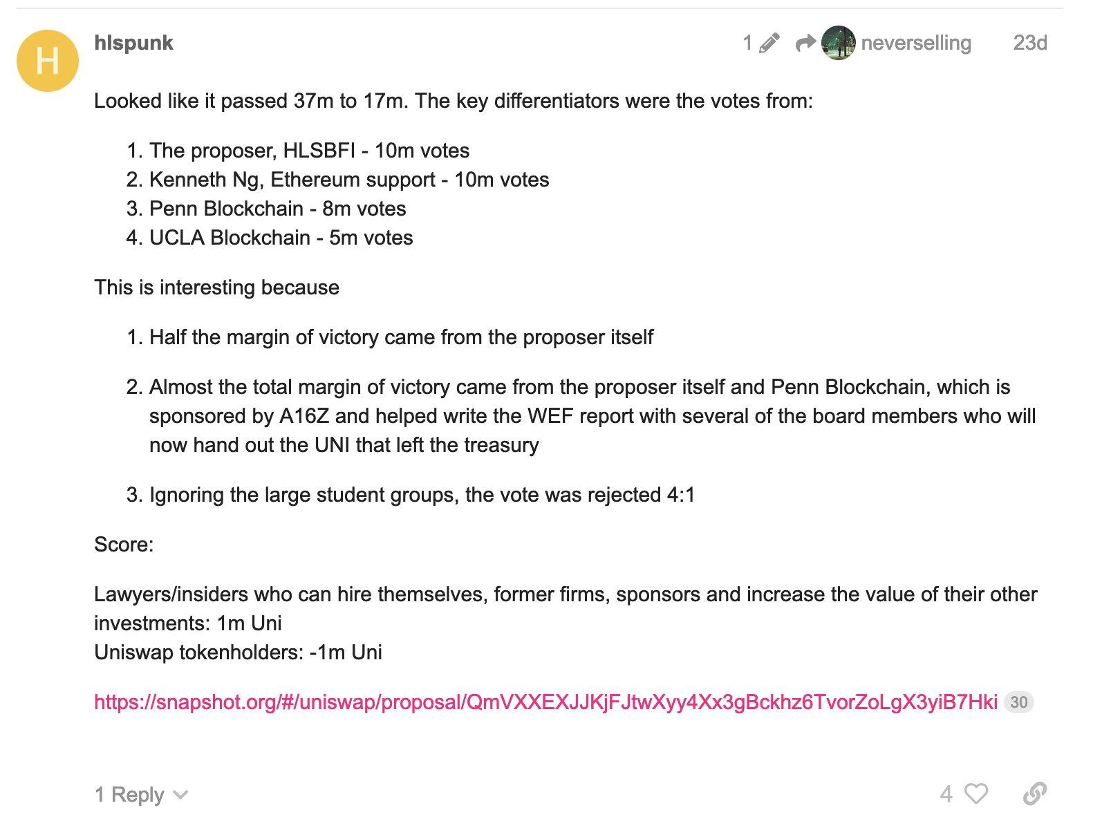 Révélations concernant la centralisation du vote pour obtenir une allocation d'1 million de jetons UNI