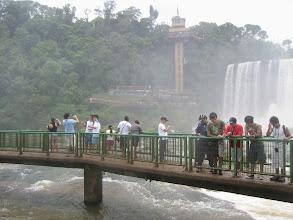 Photo: Walkway and elevator to top of falls (Brazilian side)