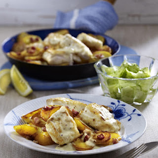 Pan-Fried Cod with Potatoes and Mustard Sauce.