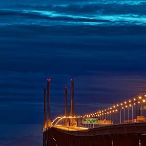 P2X by Christopher Harriot - Buildings & Architecture Bridges & Suspended Structures ( clouds, dawn, layers, penang, sea, penang 2nd bridge, bridge )