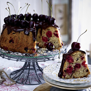 Marzipan and Chocolate Stracciatella Cherry Cake