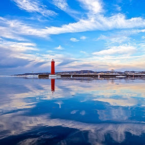 Blue Color Channel by Jeremy Church - Landscapes Waterscapes ( water, michigan, reflection, muskegon, kayaks, lighthouse, pure michigan )