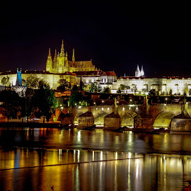 Prague Castle by night by Agnirudra Sikdar - City,  Street & Park  Historic Districts ( castle, charles bridge, night, prague, bridge )