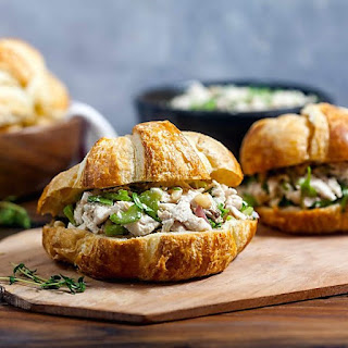 Mayo-Free Chicken Salad Sandwiches with Lemon and Herbs.