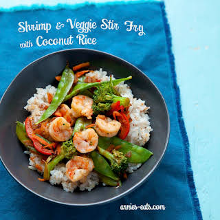 Shrimp and Veggie Stir Fry with Toasted Coconut Rice.