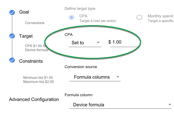 Bid strategy settings. Target section with CPA target set to 1.00 circled.