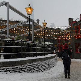 Winter at The Anchor by DJ Cockburn - City,  Street & Park  Street Scenes ( electric light, building, uk, streetlight, southwark, street, the anchor, architecture, cityscape, pub, bankside, city, urban, england, winter, london, pedestrian, snow, wagamama,  )