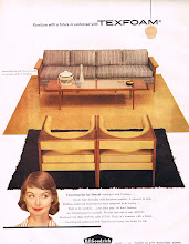 Photo: The Counterpoint collection rated not only double page ads from Drexel Furniture and an article spanning several pages, B.F. Goodrich also ran an ad too. Many 1950's ads featuring furniture were sponsored by the rubber companies that manufactured the foam cushions that went into the chairs & sofas.