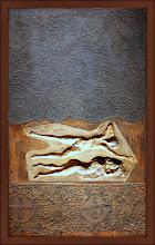 """Photo: Antonio Berni Taco para """"La pareja dormida"""". 1972 ca. 89,6 x 60,7 cm. Madera, masilla de relleno y encaje. Colección particular, Buenos Aires. Expo: Antonio Berni. Juanito y Ramona (MALBA 2014-2015)"""