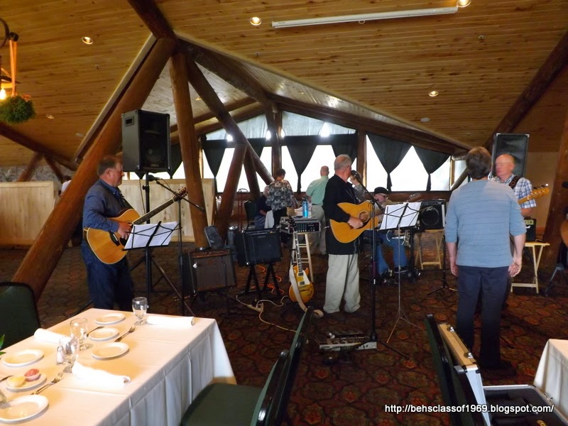 Photo: Band rehearsing Lynn Hulme, Darryl Eardmann (drums), David & Kathi Johnston