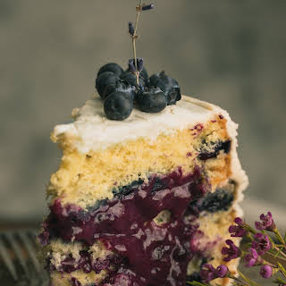 Lavender Blueberry Cake with Vanilla Bean Cream Cheese Frosting.