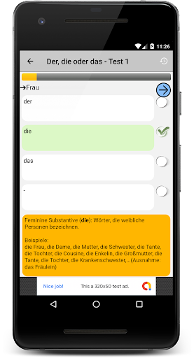Deutsch Grammatik Test screenshot 1