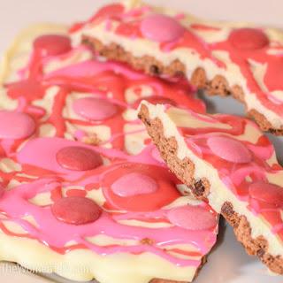 M&M White Chocolate Valentines Cracker Bark
