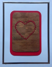 Photo: Love Card - VII embroidery on birch bark $5 contact me to order (birch bark may vary)