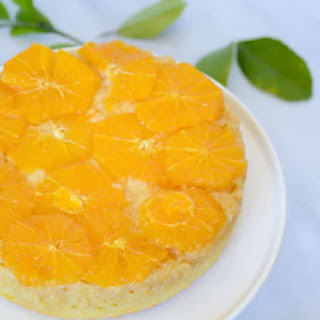 Honey-Orange Upside Down Cake with Honey-Bourbon Whipped Cream.