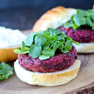 Smoky Beet Burgers with Goat Cheese Yogurt Spread