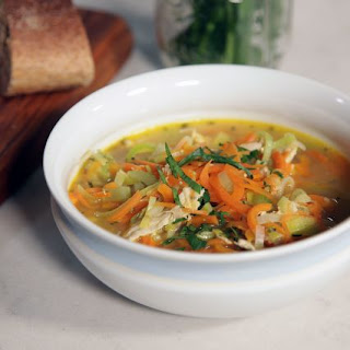 Chicken and Leek Soup with Carrot Noodles.
