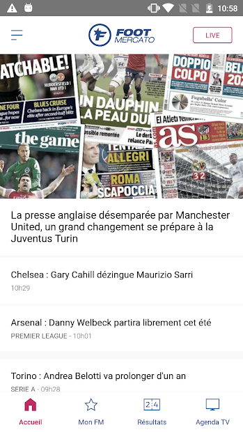Foot Mercato : transferts, résultats, news, live Android App Screenshot