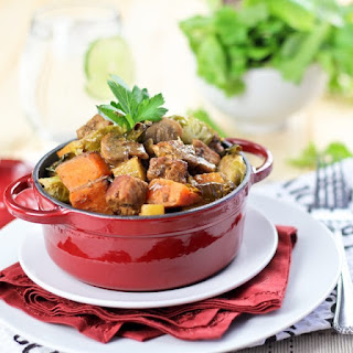 Sweet Potato, Brussel Sprouts and Pork Loin Casserole.