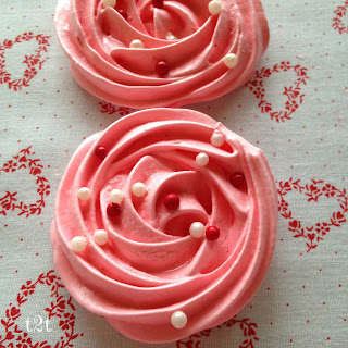 Pink Strawberry Rosette Meringue Cookies