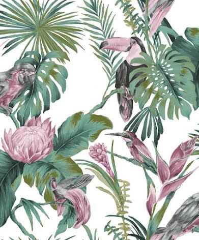Christiana Masi Noordwand Amazonia 22006 Tapet med fåglar och blommor, Rosa/Grön