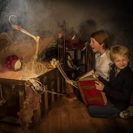 by Stephen  Barker - Babies & Children Children Candids ( skeleton, reaction, fantasy, big book, imagination )