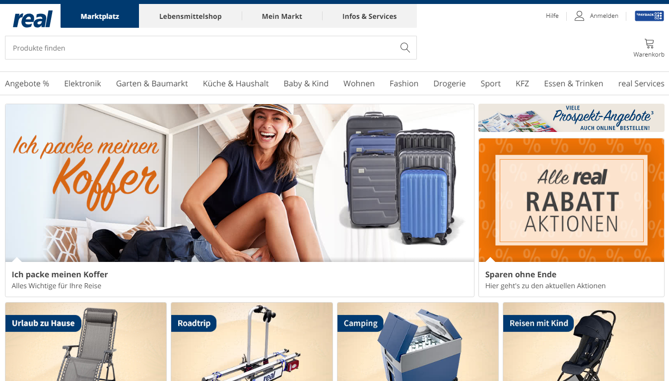 Homepage Real, one of the best marketplaces in Germany