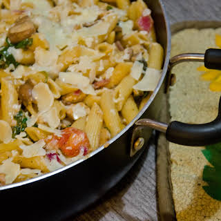 Chicken and Bacon Penne with Pesto White Wine Cream Sauce.