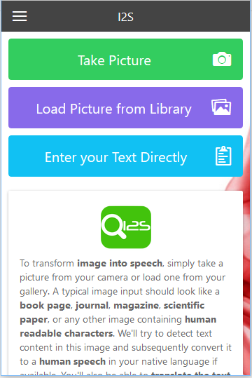 I2S OCR - Image to Speech- screenshot